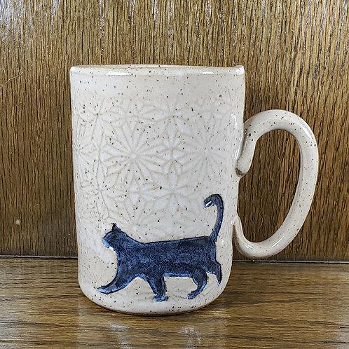 Handmade Ceramic White 16 oz Mug with a Black Cat