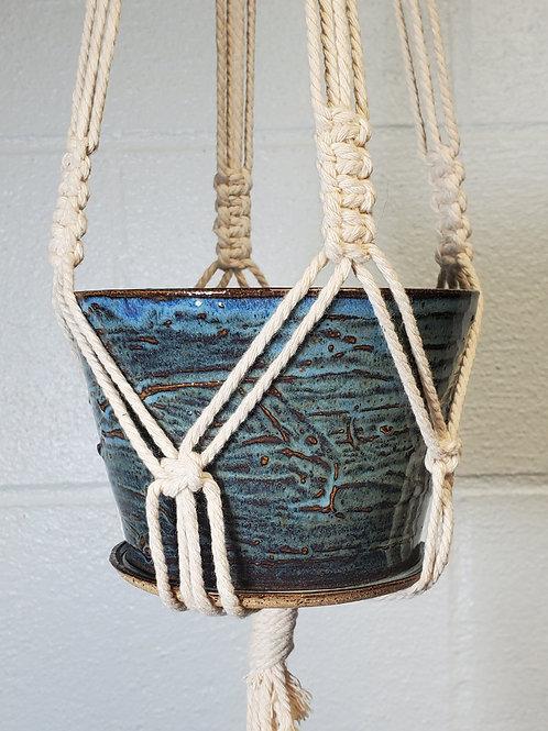 Handmade 5 Inch Blue Ceramic Planter with Handmade Cotton Macrame Hanger