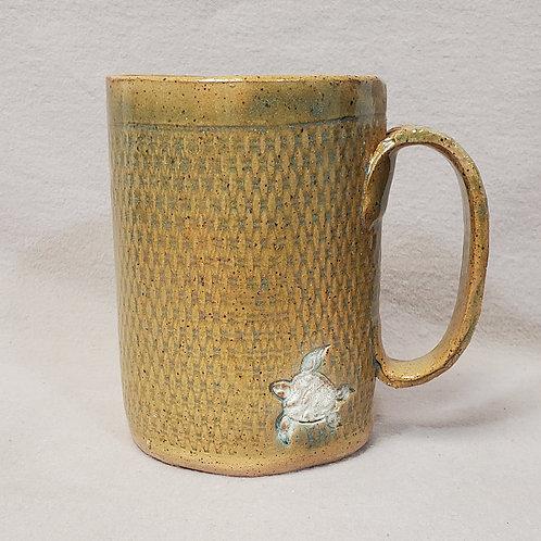 Handmade Ceramic 16 oz Turquoise & Brown Mug with a White Sea Turtle
