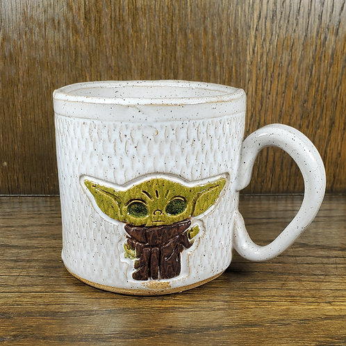Pre-Order Handmade Ceramic White Mug with Baby Yoda