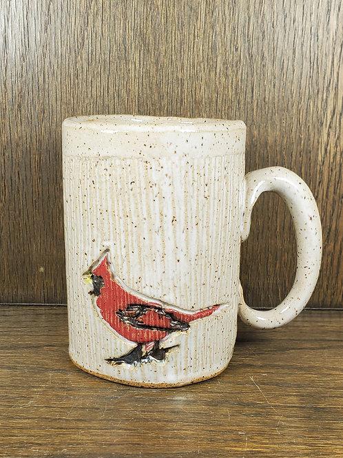 Handmade 16 oz Red Cardinal Sitting on a Striped Pattern White Ceramic Mug