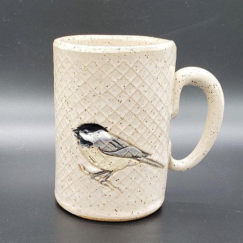 Pre-Order Handmade White Ceramic 16 oz Mug with a Chickadee