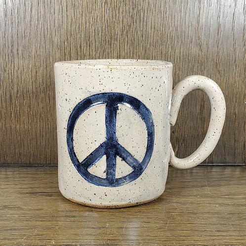 Handmade Ceramic White Peace Symbol  Mug