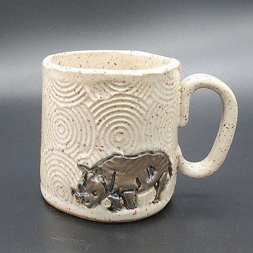 Handmade Black & Gold Rhino on a White Textured Ceramic Mug