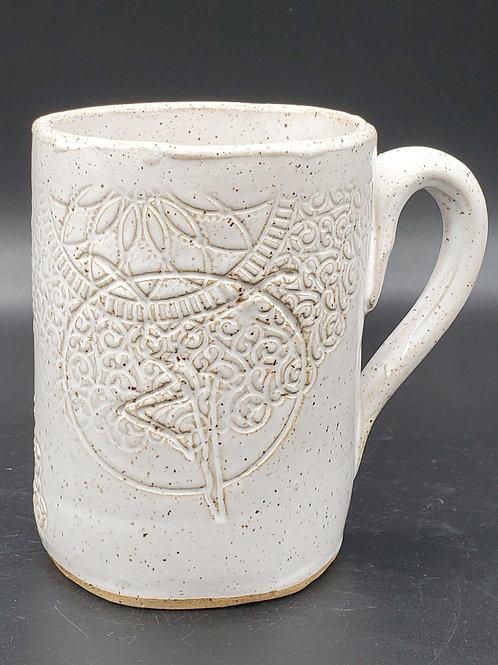 Pre-Order Handmade White Ceramic 16 oz Mug with a Fire Dancer / DMB Memorabilia