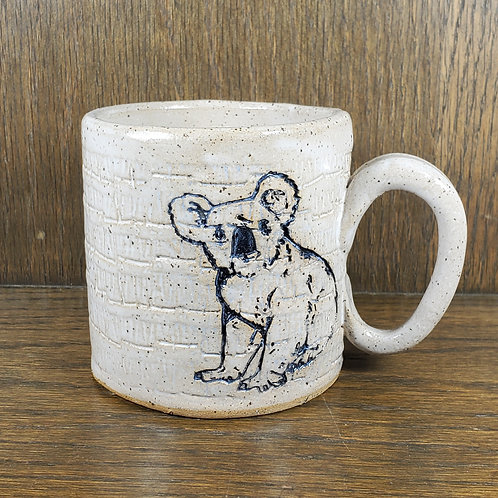 Handmade Ceramic White Mug with a Koala
