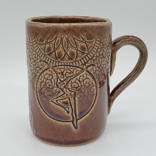 Pre-Order Handmade Mauve Ceramic 16 oz Mug with a Fire Dancer / DMB Mem