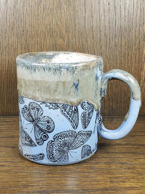 Handmade Ceramic Blue Butterfly Mug with Yummy Drips