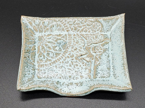 Handmade Ceramic Turquoise Soapdish with a DMB Fire Dancer