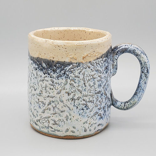 Handmade Ceramic Frosted Blue Mug with a Sea Turtle Pattern