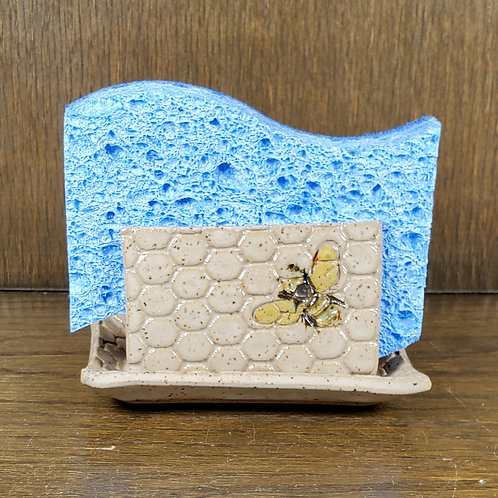 Handmade Ceramic White Kitchen Sponge Holder with Bee Pattern