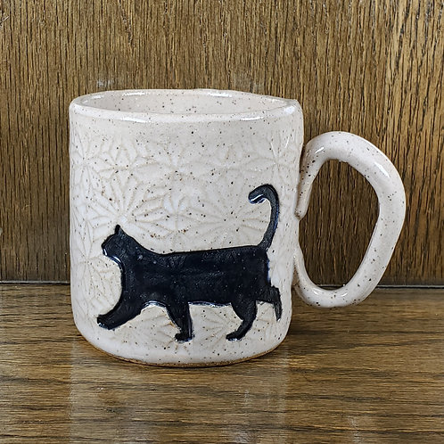 Handmade Ceramic White Mug with a Black Cat
