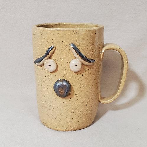 Fred - Handmade Beige Ceramic Face Mug