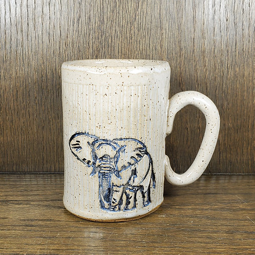 Handmade Ceramic 16 oz White Mug with Gray Elephant