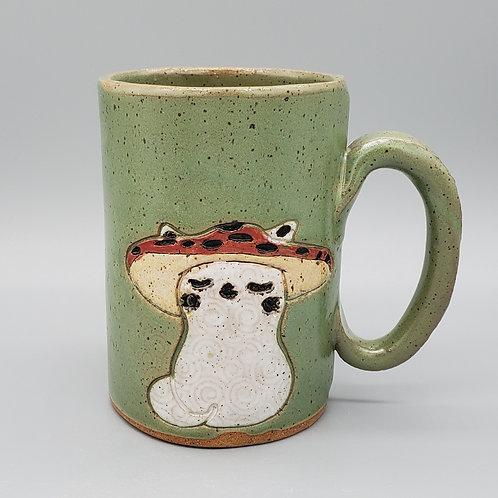 Handmade Ceramic 16 oz Green Mug with a  Mushroom Cap Cat