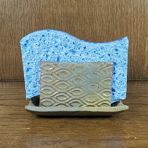 Handmade Ceramic Blue & Green Kitchen Sponge Holder with Diamond Pattern
