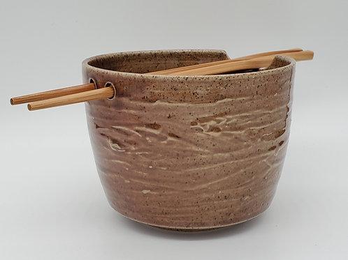 Handmade Ceramic Red Sandstone Ramen / Rice / Noodle Bowl with Chopsticks
