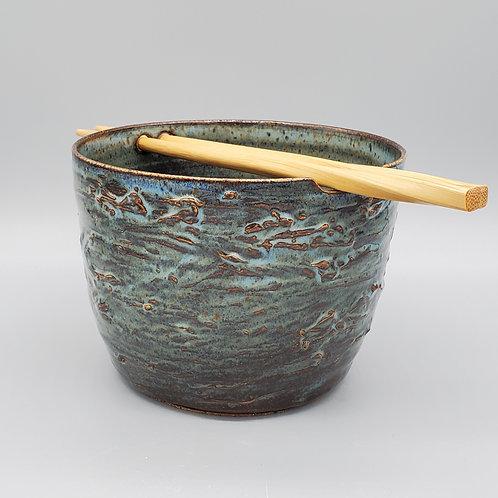 Handmade Blue Wave Ceramic Ramen / Rice / Noodle Bowl