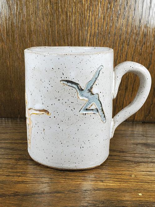 Handmade White Ceramic Mug with Fire Dancers / DMB Mem