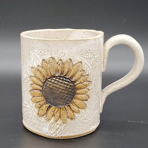Pre-order Handmade Ceramic White Mug with a Golden Sunflower