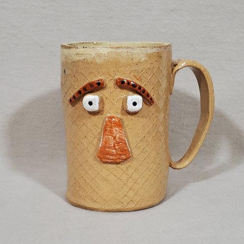 Bert - Handmade Beige Ceramic Face Mug