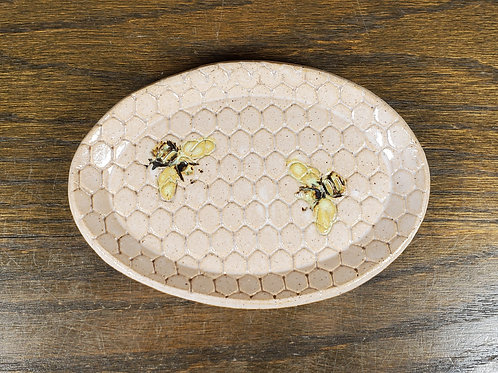 Handmade White Oval Ceramic Trinket Dish with Bees / Jewelry Tray