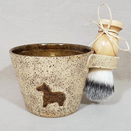 Handmade Ceramic Shaving / Lathering Bowl with Brush & Beard Soap Gift Set