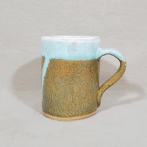 Handmade Brown, White and Turquoise Swirl Pattern Ceramic Mug
