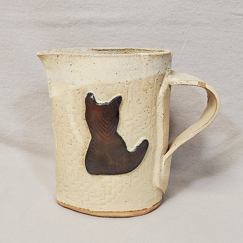 Handmade Black & Gold Cat on an Ivory Ceramic Caraffe / Small Pitche