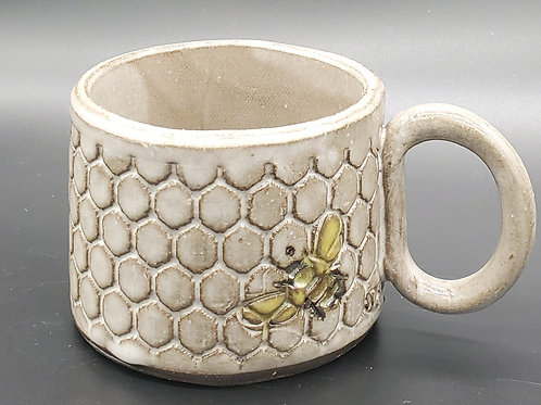 Handmade Ceramic White Honeycomb Mug with Bees