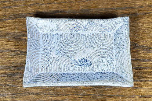 Handmade Blue Swirl Ceramic Trinket Dish / Jewelry Tray