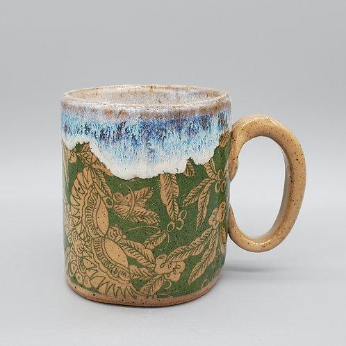 Handmade Ceramic Green & Beige Pattern Mug with a White Drippy Glaze