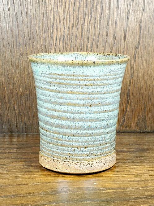 Handmade Ceramic Rippled Green & Beige Tumbler