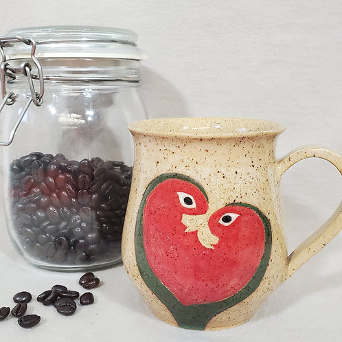 Handmade Beige Ceramic Mug with Heart Shaped Pink Lovebirds