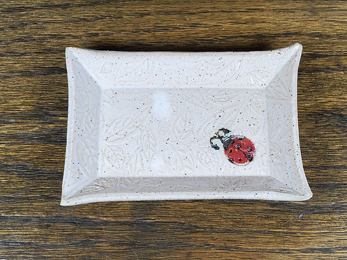 Handmade White Ceramic Trinket Dish with a Lady Bug / Jewelry Tray