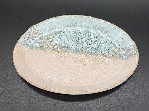 Handmade Turquoise  Oval Ceramic Trinket Dish with a Green Sea Turtle / Jewel