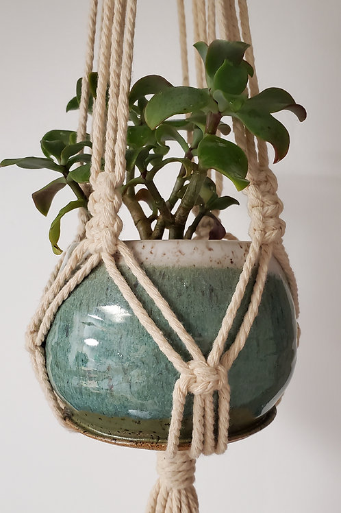 Pre-Order Handmade White & Turquoise Ceramic 3 Inch Planter with Macrame