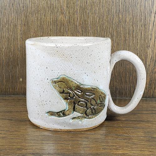 Handmade Ceramic White Mug with a Green Toad