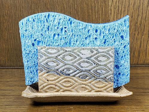 Handmade Ceramic Blue Kitchen Sponge Holder with a Diamond Pattern