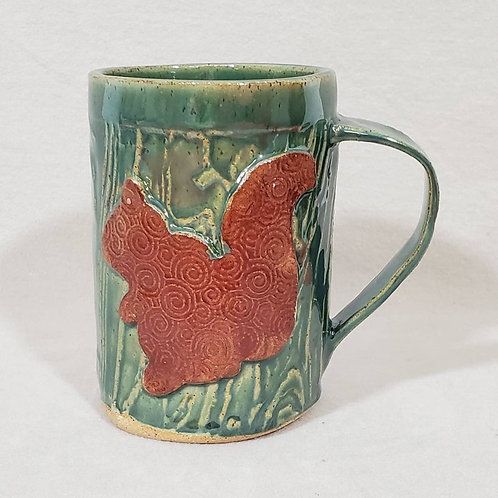 Brown Squirrel on a Green Textured Ceramic Mug