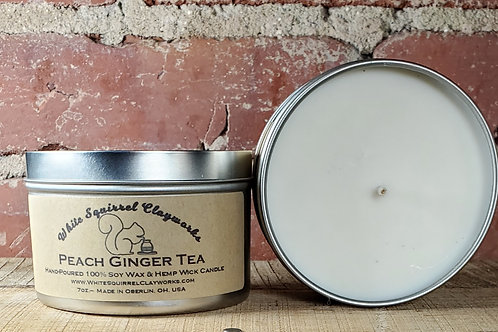 Peach Ginger Tea Hand-Poured Soy Candle - 7oz