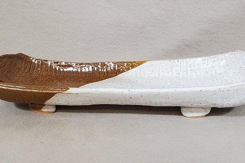 Handmade White & Brown Ceramic Serving Tray / Olive Tray / Cracker Dish