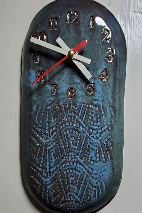 Handmade Ceramic Blue Wall Clock