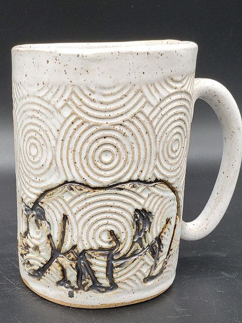 Handmade Black Rhino on a White Textured Ceramic Mug