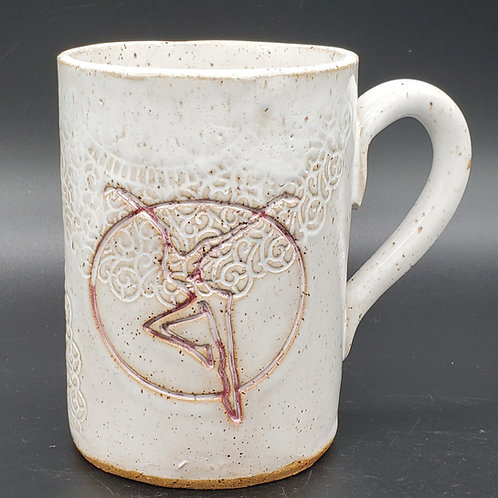 Pre-Order Handmade Ceramic White 16 oz Mug with a Red Fire Dancer / DMB Memor