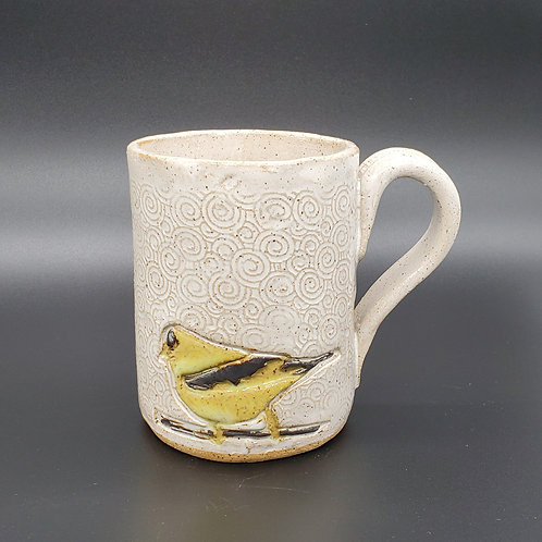 Handmade 16 oz Gold Finch Sitting on a Pattern White Ceramic Mug