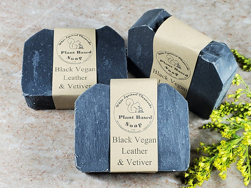Black Vegan Leather & Vetiver Scented All Natural Handmade Soap - 4oz