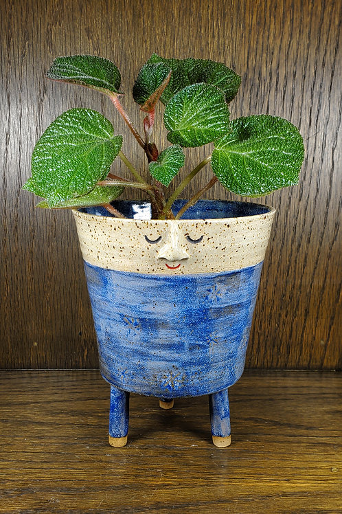 Cole ~ Handmade Ceramic Blue Snowflake Patterned Face Pot & Legs