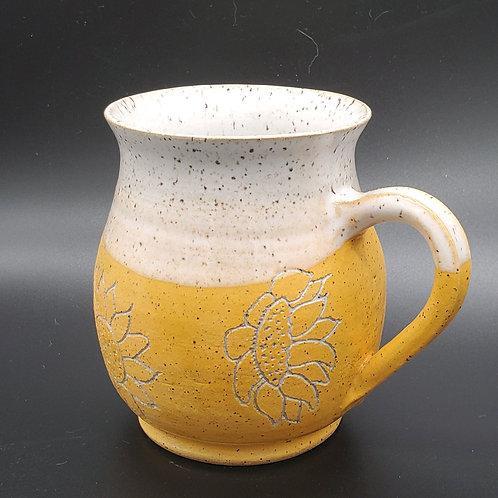 Handmade Ceramic White & Gold Mug with Sunflowers