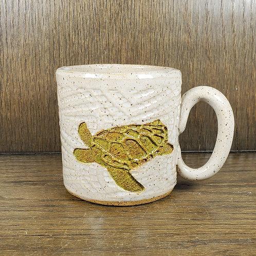 Handmade Ceramic White Mug with a Green Sea Turtle